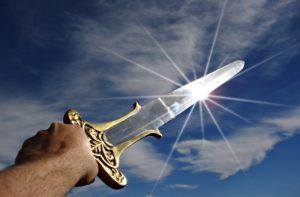 a drawn sword to symbolize reboot success